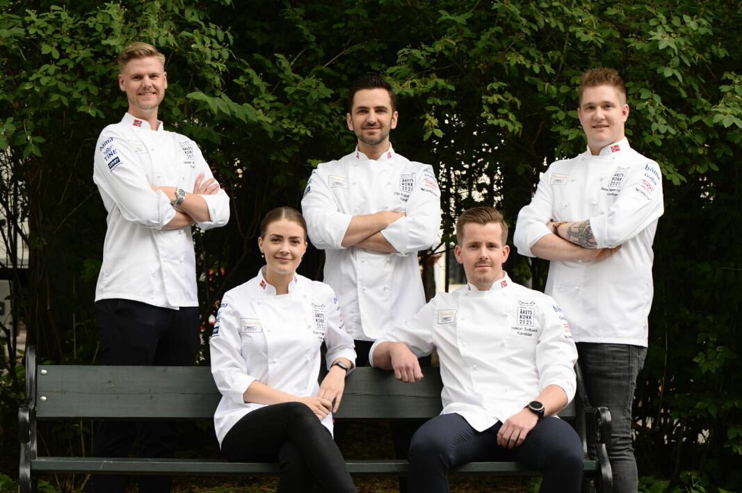 De fem kandidatene i Årets kokk 2021. (Foto: Stiftelsen Norsk Gastronomi)