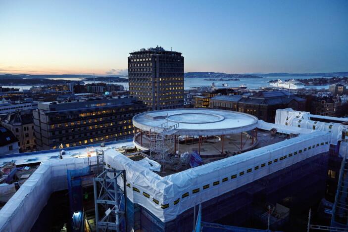 TAK, som er under bygging, får 360 graders utsikt over byen, fjorden og marka. (Foto Lars Petter Pettersen)
